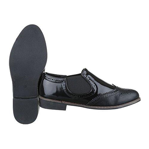 Chelsea Boots Damen Schuhe Chelsea Boots Blockabsatz Chelsea Ital-Design Stiefeletten Schwarz
