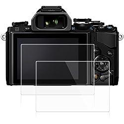 AFUNTA Films de Protection d'Ecran pour Olympus E-M10 Mark II, Lot de 2 Protecteurs Imperméables en Verre Trempé Optique pour Caméra Digital DSLR