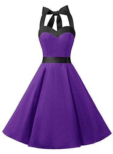 Dresstells Neckholder Rockabilly 50er Vintage Retro Kleid Petticoat Faltenrock Purple Black 3XL