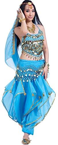 Bollywood Kostüm für Damen Bauchtanz Kinder Kostüm Faschingskostüm Chiffon Blau