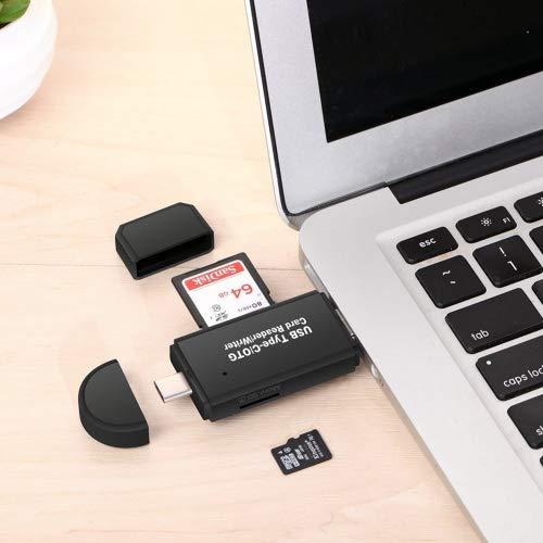 Vanja Speicherkartenleser, SD/TF Kartenleser und USB Type C Micro USB OTG Adapter für SDXC, SDHC, SD, MMC, RS-MMC, Micro SDXC, Micro SD, Micro SDHC Karte, unterstützt UHS-I Karten