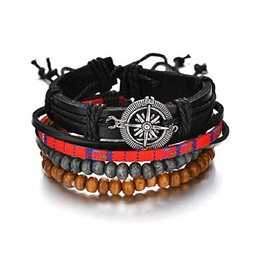 ICHQ Armband, 1 Set Vintage Kompass Handgewebte Mehrschichtige Armband Männer Frauen Armband Herren Armband Leder Armbänder Schmuck Geschenk (A)