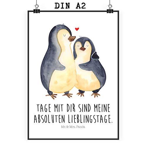 Mr. & Mrs. Panda Wanddeko, Bild, Poster Din A2 Pinguin umarmend mit Spruch - Farbe Weiß