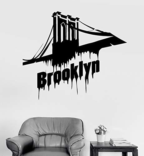 guijiumai Amerikanischen Vinyl Wandtattoo Brooklyn Bridge New York Aufkleber Wandhauptdekor Wohnzimmer Schlafzimmer Kunst Aufkleber Tapete weiß 49x42 cm