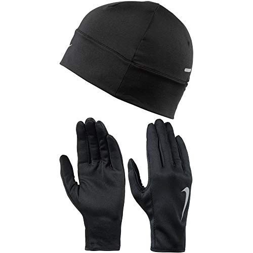 Nike Dry Damen Mütze Und Handschuh Set, schwarz/Silber, XS/S -