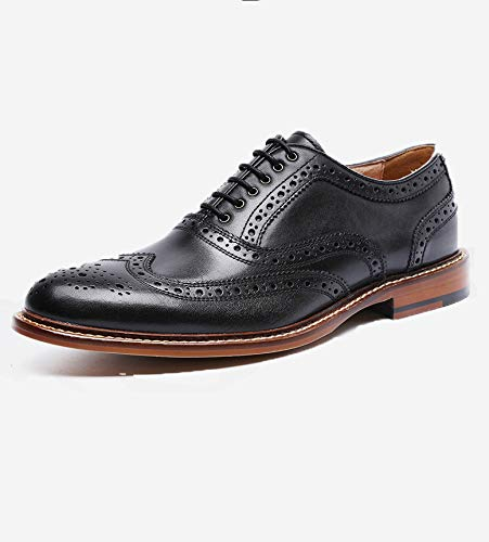 Schwarzes Leder Brogue Schuhe für Herren Lace-up wies formelle Schuhe Hochzeit Büro Kleid Schuhe Casual Business Schuhe atmungsaktiv,Black-40 -