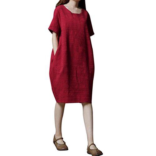 MCYs Damen Leinenkleid Vintage Sommerkleid Baumwollleinen Lose Rundhals Kurzarm Kleider Minikleid mit Taschen (XL, Rot)
