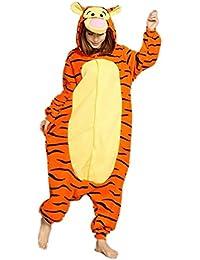 Pijama de invierno unisex tipo mono para adultos, pieza única de cálida franela, con diseño de Pikachu amarillo Tigre L