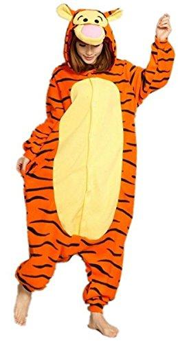 Pijama de invierno unisex tipo mono para adultos, pieza única de cálida franela, con diseño de Pikachu amarillo Tigre XL