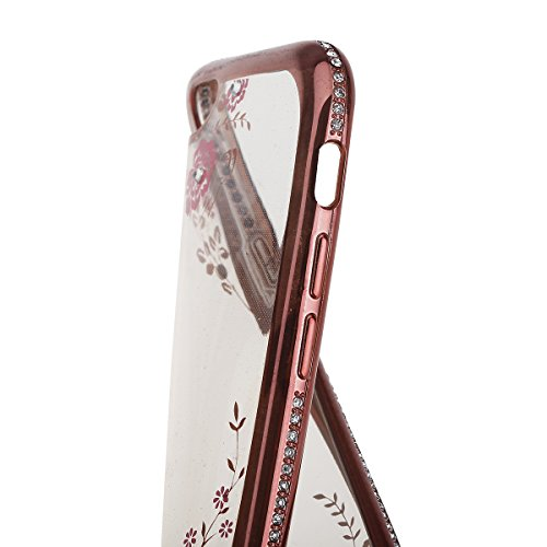 Ukayfe iPhone 6/6S plus 5.5 Copertura, Moda Confine di Placcatura Design di Bling Custodia Bumper Ultra Slim Morbido Soft TPU Gel Silicone Elegante Trasparente Flessibile Antiurto Cassa Protettivo Ski rosa&secret Garden