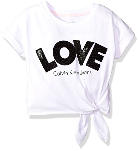 Calvin klein girls' little calvin graphic tee, love white, 6x