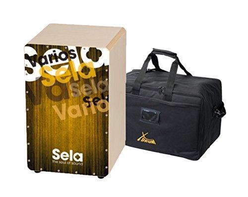 SELA Varios Gold SE 067 Cajon Percussion Drum Trommelkiste Set mit passendem XDrum Gigbag für den einfachen Transport (Cajon-drum-set)
