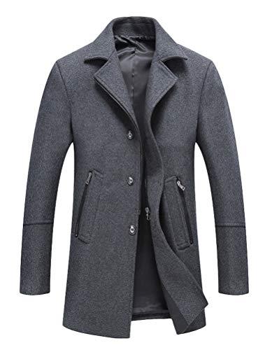 Mallimoda Herren Herbst Mantel Slim Fit Business Wollmantel Lange Windbreaker Jacken Grau S