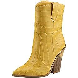 VulusValas Mujer Moda Tacón Ancho Tobillo Botas Tacón Alto Botas de Vaquero Yellow Size 41 Asiática