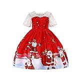 YuanDian Mädchen Kinder Weihnachten Kleid Party Weihnachtsmann Drucken Festlich Blumen Cocktailkleid Festtagskleid Abendkleider Kleinkind Kleider 3-10 Jahre 7# Rot 130