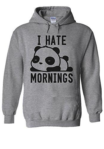 I Hate Mornings Panda Bear Cute Swag Novelty Novelty Sports Grey Men Women Unisex Hooded Sweatshirt Hoodie-M