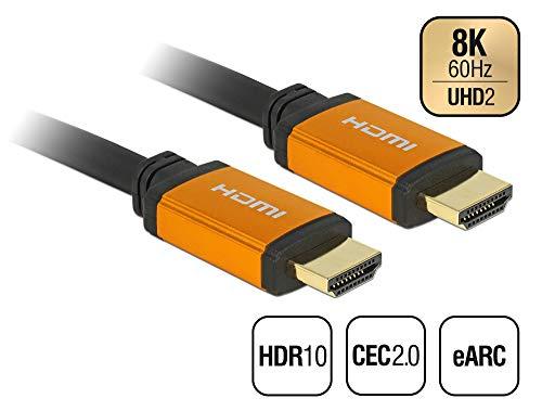 Delock Hochwertiges 8K HDMI Kabel 2,00 m Länge, 8K Ultra HD2 (7680 x 4320 @ 60 Hz), 48 Gbps, CEC 2.0, HDR 10, eARC, UHDTV, für Xbox, PS4, Blu Ray Player, 85729 Hdmi-kabel Längen