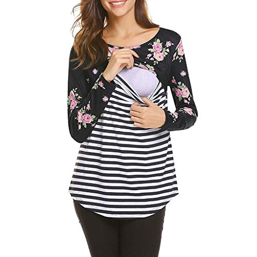 (Amphia - Langarm T-Shirt Umstandsmode - Schwangere Frauen Langarm-Blumendruck gestreift Stitching Still Top T-Shirt(Schwarz,M))