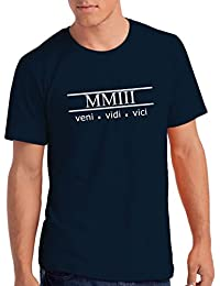 "Mens 2003"" Veni Vidi Vici 15th Birthday T Shirt Gift With Year Printed In Roman Numerals"