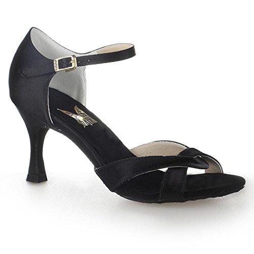 Jia Jia 20514 Chaussures de danse latine satin Noir