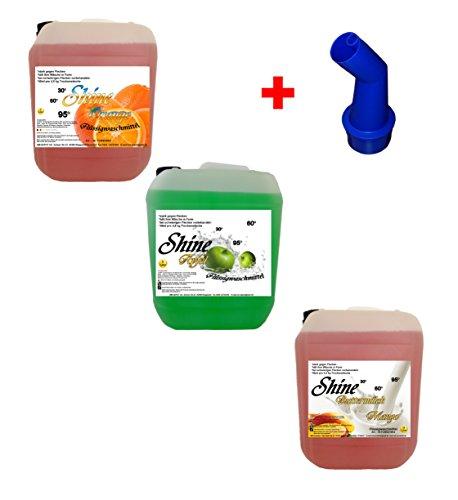 Shine 3X 5 L Orange Apfel Mango Flüssigwaschmittel + Ausgießer Waschmittel Waschgel Caps Gel Wäsche