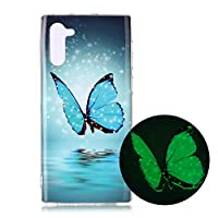 Mylne Luminous Effect Back Case Cover for Samsung Galaxy Note 10,Noctilucent Glow in the Dark Green Soft Slim TPU Gel Flexible Bumper,Blue Butterfly