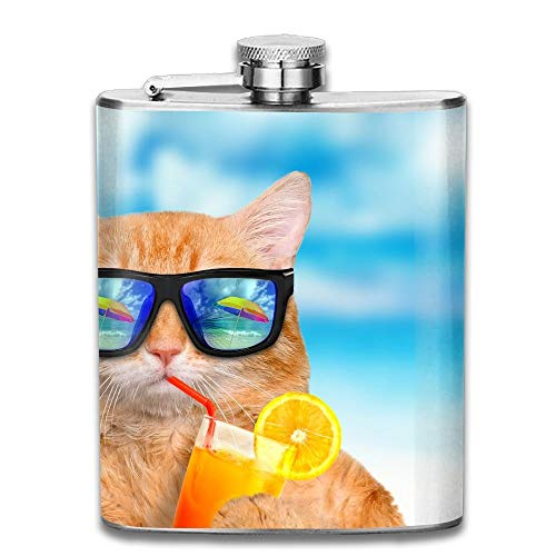 c432d4011b6 Hoklcvd Cat Wearing Sunglasses Relaxing in The Sea Background Good Quality  304 Stainless Steel Flask 7oz