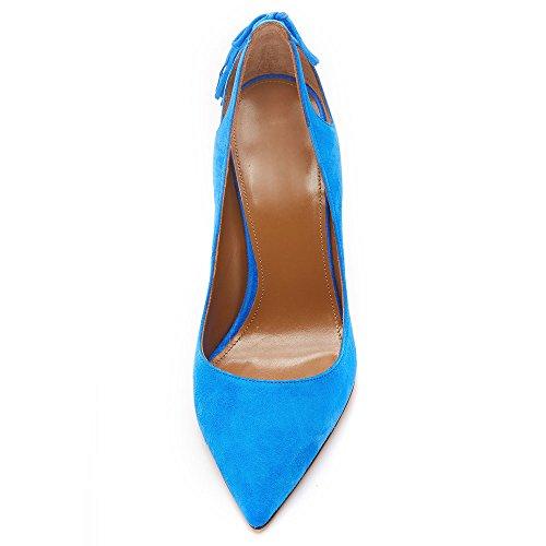 Azul Apontado Ubeauty Oversize Luz Buraco Com Borla Bomba Dedo Stilettos Bombas Calcanhar Deslizamento Senhoras Milímetros 120 Na qqxRwF61O