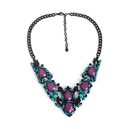 Blingbling_M Geometrische Lila Halskette Weibliche Elegante Exquisite Glamour Glasmalerei Crystal Tufted Chunky Halskette Frauen Halskette - Glasmalerei Lila
