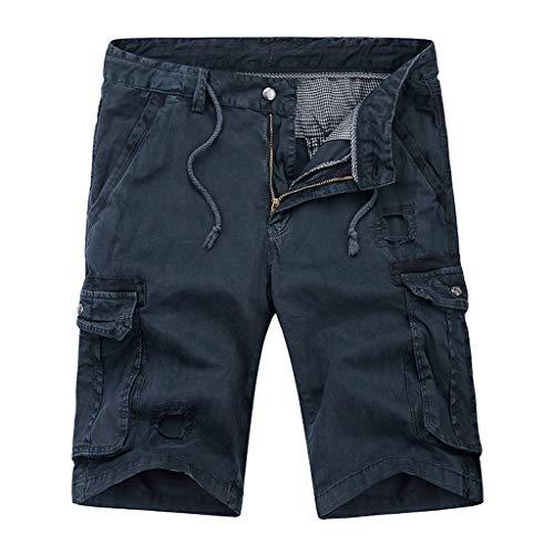 Herren Cargo Shorts Briskorry Vintage Rangerhose Trekkinghose Slim Fit Cargohose Casual Laufhose Cargo Jogging Pants mit Kordel Multi Taschen