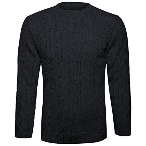 Mens Classic Style Chunky Cable Knit Jumper Plain Casual Design Pull On Thick Warm Winter Pullover Sweater Knitted Crew Neck Long Sleeve Knitwear Top M-2XL