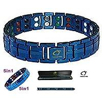 Blau Double Stärke Titanium Magnetic Armband für Männer + Plus Samt Geschenk-Box - Arthritis Armband   Golf Armband preisvergleich bei billige-tabletten.eu