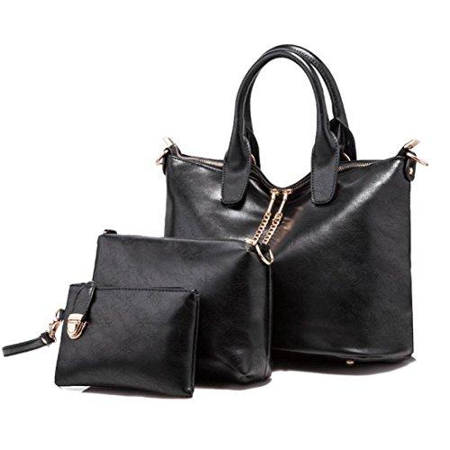Transer  Women Shoulder Bag Popular Girls Hand Bag Ladies Leather Handbag, Damen Schultertasche 20cm(L)*15(H)*4cm(W), rose (Mehrfarbig) - ZLY60912781 schwarz