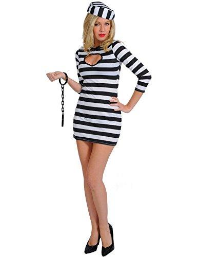 Erwachsene Sexy Sträfling Kostüm Karneval Fasching Verkleidung Damen Large (Gefangener Kostüm Damen)