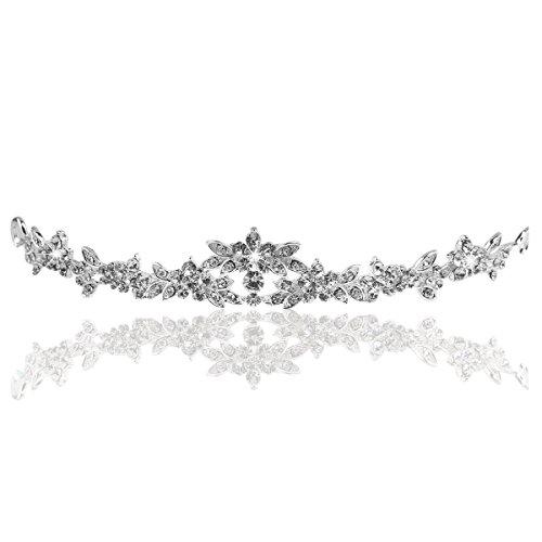 Sparkly Bridal Crown Strass Crystal Dekor Stirnband Schleier Diadem (Splitter) ()