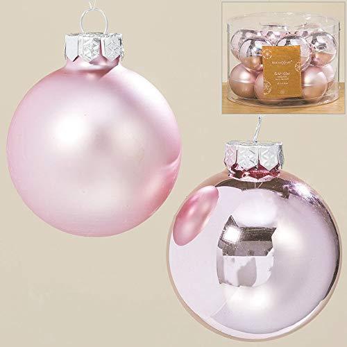Sconosciuto b&b 24 palle di natale in vetro, 4 cm sfere per albero di natale, rosa antica, in vetro chirurgico, opache, lucide, decorative