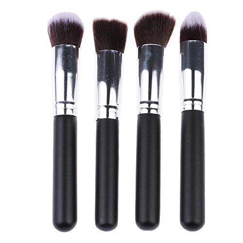 HuaYang 4Pcs gros maquillage professionnel poudre cosmétique Foundation Blend Brushes brosses maquillage Set - Noir argent
