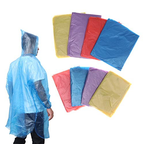 VORCOOL 8pcs jetable imperméable adulte pluie poncho famille pack imperméable à l'eau poncho manteau de pluie portatif clair vêtements pour enfants adultes hommes femmes (4pcs pour les enfants, 4pcs pour les adultes)