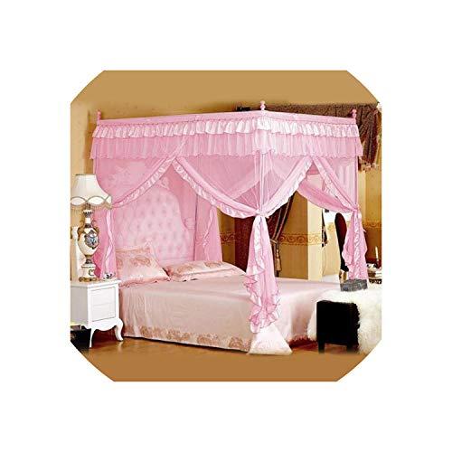 Bert-Collins Zanzariera a baldacchino, per Adulti, Quadrati, per Letto, Decorazione della Camera da Letto, baldacchino, zanzariera, Rosa, 1 2m (4 Feet) Bed