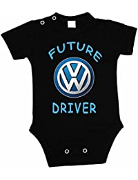 Bebé chaleco/cultivador VW Logo futuro conductor cuerpo traje de manga corta, negro