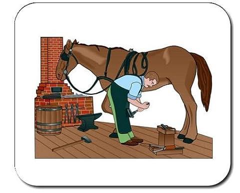 Mauspad mit der Grafik: shoeing, Ofen, Backofen, Schmied, Landwirtschaft, Pferd, Equiden, Amboss, Barrel, hovslagning, Schmiedekunst