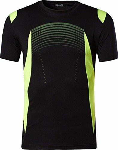 jeansian Uomo Moda Formazione Function Sportivo Casuale Palestra Fashion Tee T-Shirts Camicie LSL194 Black