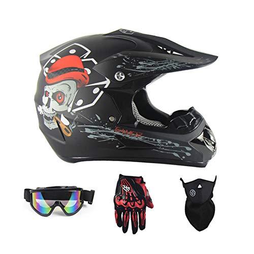 Sanqing Casco Moto, Casco da Gara Motocross Casco Moto Quattro Stagioni Universale (Guanti, Occhiali, Maschera, Set di 4 Pezzi),Blackghosthead,M