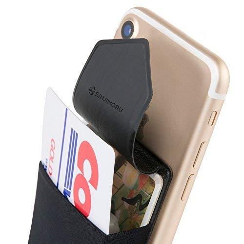 Sinjimoru Smartphone Kartenhalter/Smart Wallet/Kartenfach mit Verschluss/Kartenetui/aufklebbare Mini Geldbörse mit Sicherungslasche für iPhone und Android. Sinji Pouch Flap, Schwarz. - Mini-geldbörse Bank