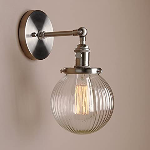 Pathson 15cm Industrial Modern Vintage Retro Wall Lights, Loft Bar Kitchen Sconce Lights Lamp Fixture with Ribbed Globe Clear Glass Light Shade(Brushed)