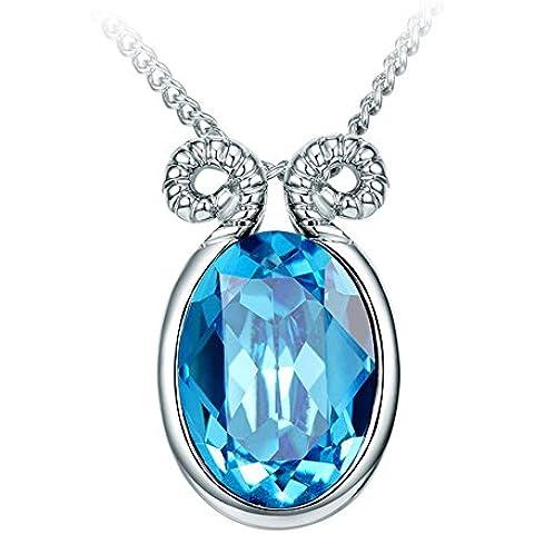 La Noche Estrellada Azul Cristal de doce constelaciones Plata calidez Aries collar de 17.72