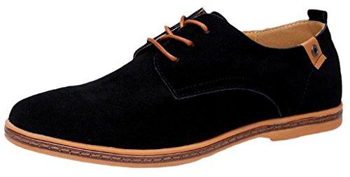EOZY Richelieu à Lacet Cuir Pu Suédé Homme Style Anglais Chaussure De Ville Bureau Noir 44