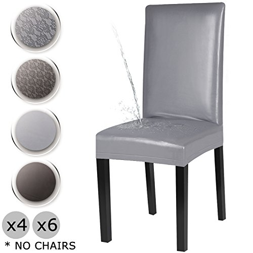 YISUN Dining Chair Covers, Waterproof PU Lreather Stretch Removable Washable Dining Chair Protector Cover (Grey/Solid Pattern, 4 PCS)