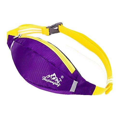 Unisex multifunzione in Nylon impermeabile Bum Marsupio Packs denaro Hip Pouch con cintura regolabile per Outdoor Sport, palestra, corsa, trekking, campeggio, pesca Bike Viola
