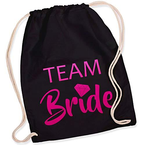 Diamant Kostüm - Shirt-Panda Turnbeutel JGA Team Bride/Team Bride mit Diamant Junggesellinnenabschied Team-Braut Tasche Rucksack Team Bride - Schwarz (Druck Pink)